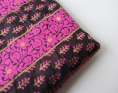 Black gold pink flowers and branches India silk brocade fabric nr 155 fat quarter - SilksByUmf