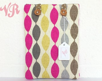 Padded Kindle / Paperwhite / Kobo Touch / Nook / eReader Case - Custom Made in 50's Inspired Twist Fabric