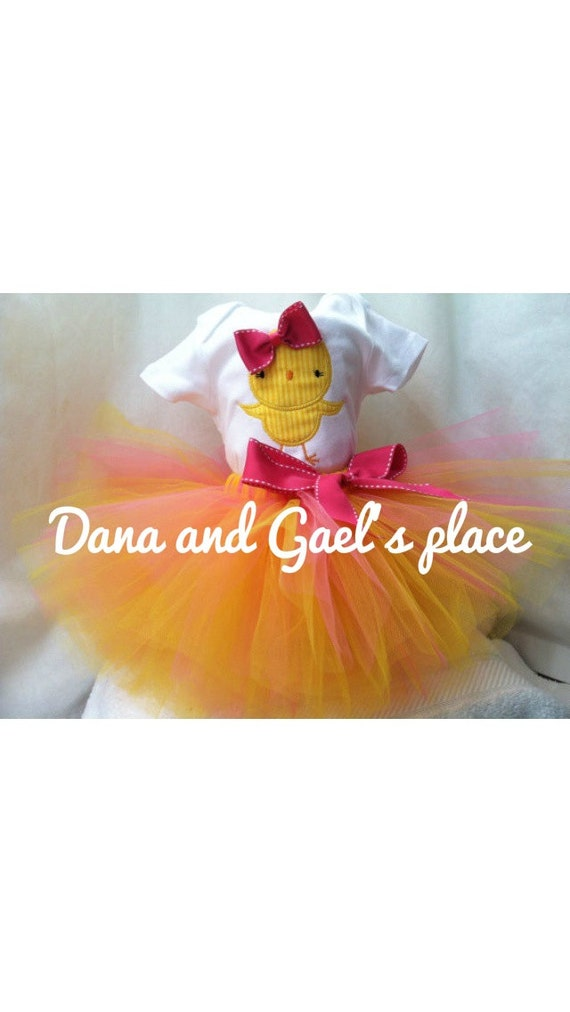 Beautiful Easter little  chick tutu and onesie/shirt free personalize