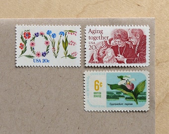 Let's Grow Old Together - Vintage unused postage stamps to post 5 letters - or use in scrapbooking and crafts