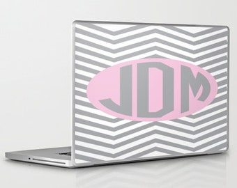 Laptop Skin- Chevron Grey and Pink (Can be personalized)