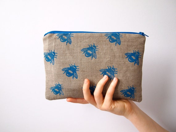 linen hand printed -  bees zipped purse pouch make up cosmetic bag pencil case cornflower blue