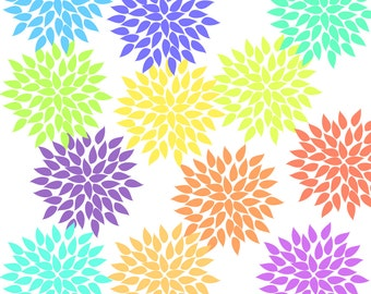 12 Pastel Hydrangea Clip Art, Flower graphics -Clipart  for scrapbooking, wedding invitations, cardmaking and more