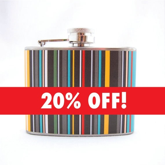 Colorful Flask Gift : Colored Stripes, Present, 4 oz Stainless Steel Flask, Velour Bag Included