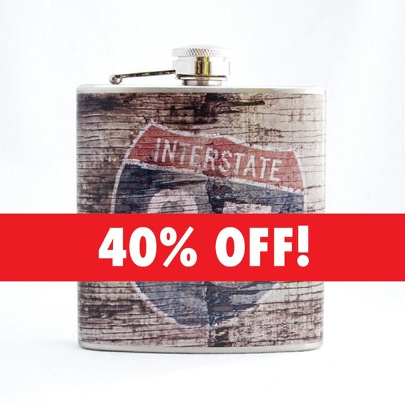Rustic Flask: Interstate 85 Road Sign on Weathered Wood, 6 oz Stainless Steel Flask, Velour Bag Included