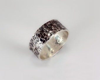 Straight Edged Textured Ring, Sterling Silver, Made to Order