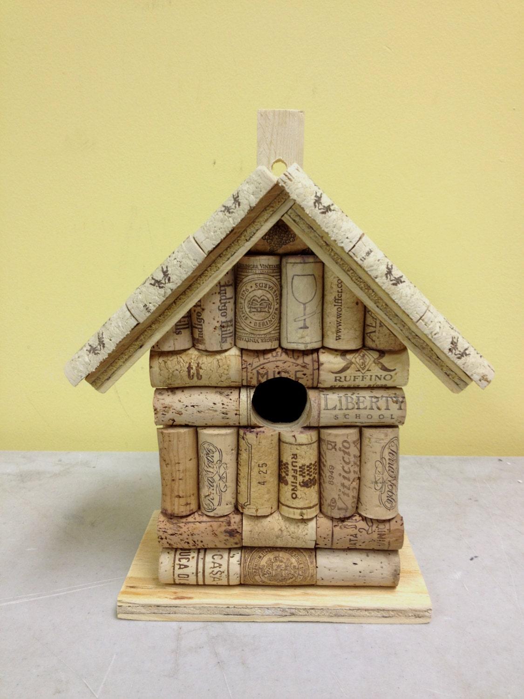 Wine Cork And Wood Birdhouse Bird House Handmade From Real
