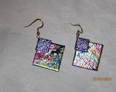Multicolor Dichroic Glass Earrings - Item 1-1546
