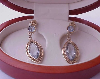 Stunning pair of 14kt  Gold Victorian Genuine Huge Blue Topaz Filigree Earrings, late 1800s