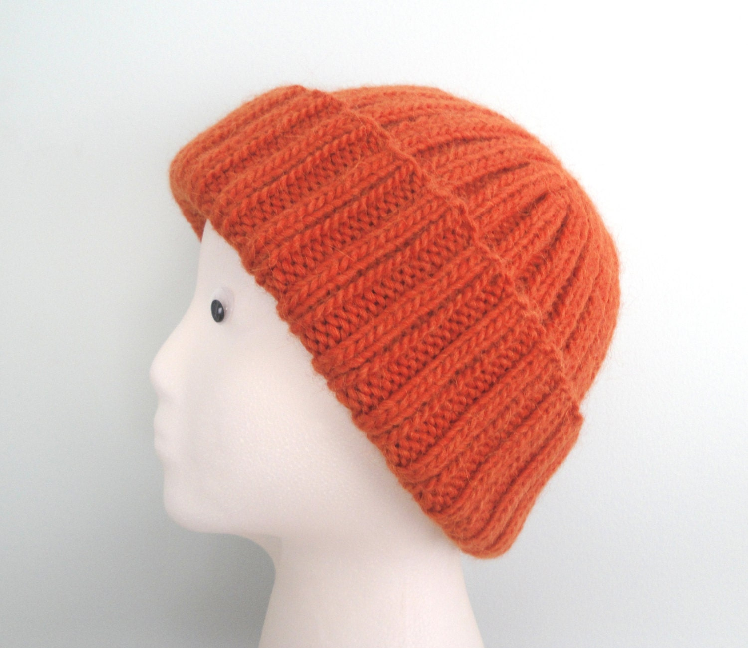 Orange Mens Hat Hand Knit Llama/Wool Beanie Watch Cap Man