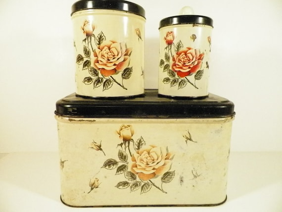 3 NC Colorware Canisters/ Pink Roses/Shabby Decor