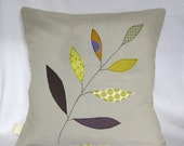 "Cushion cover, olive green leaves on a branch, free motion applique, linen, cotton, 16"" / 40cm."