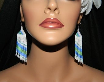 Native American Beaded Side Angle earrings in Periwinkle Blue and Mint Green with just a touch of Turquoise