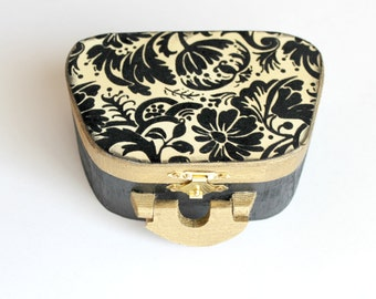 Black and White Decorative Box, Jewelry Box, Wooden Jewelry Box, Altered Box