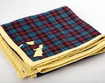 Blue Scottish woolen tartan rug