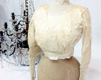 Beautiful antique bodice with petticoat from the late 1800s // lace bodice // antique suit // antique petticoat // edwardian