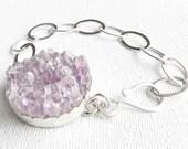 Purple amethyst bracelet, chunky plum amethyst druzy bracelet, bold sterling silver & purple cuff, statement jewelry jetteam