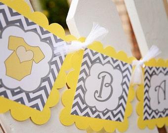 Baby Shower banner, grey and yellow, crib,