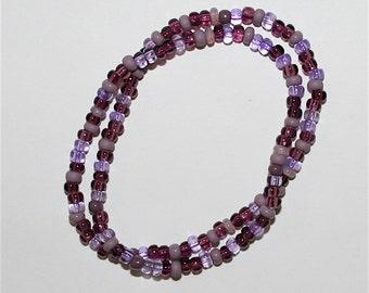 Boho Hippie Bracelet Double Stranded Purple Mauve Czech Mixed Glass Seed Bead Bracelets Indian Handmade Gift by CzechBeaderyShop