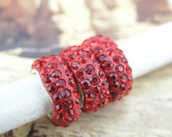 5pcs Ruby 888 Rhinestone Licorice Slider Spacer for Licorice Leather Bracelet