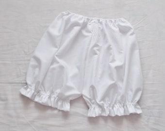White Everday Comfy Baisc Lolita Fairy Kei Ruffle Bloomers Pumpkin Shorts