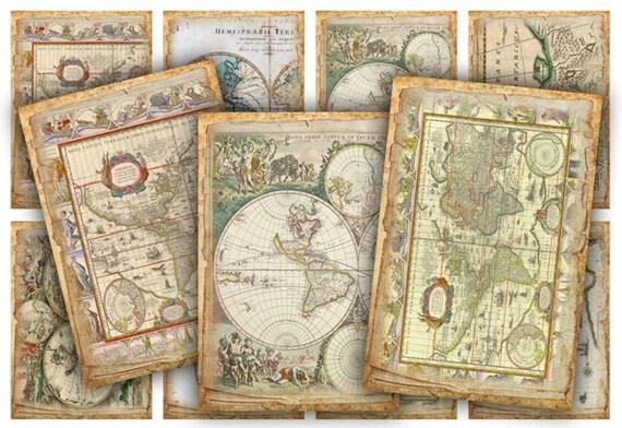 Digital Collage Sheet Download - World Map Tags -  399  - Digital Paper - Instant Download Printables