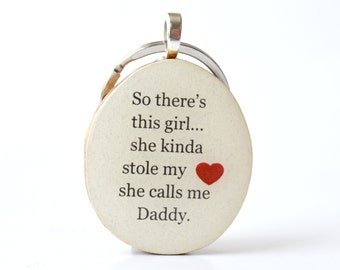 Dad keychain father gift mens keychain fathers day gift for dad keychain key charm nature gift eco friendly
