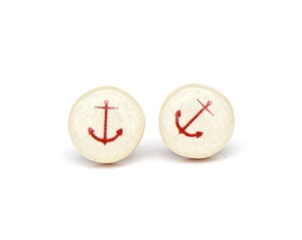 Red anchor Stud earrings anchor wedding nautical wedding nautical post earrings minimalist jewelry gift for her nature gift eco-friendly