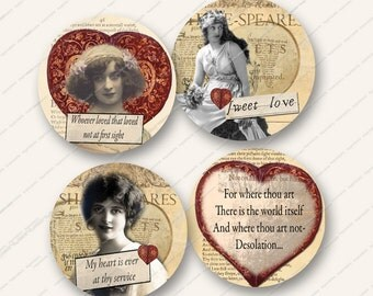 2.5in SHAKESPEARE LOVE QUOTES circles rounds for greetings cards valentines mirrors paper crafts etc MagentaBelle digital collage sheet 23