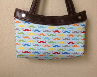 Geekly Mustache in Aqua  skirt purse skirt cover handmade thirty one