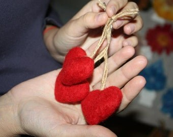 RED HEART pendant 2 - 2.5 inches - Christmas - St. Valentine Ornament gift - Wool hand needle Felted - Home Decor or keychain, eco friendly