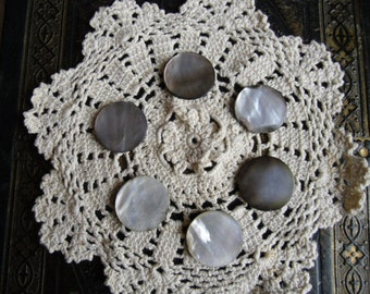 """Vintage Buttons - 6 Large MOP Mother of Pearl Buttons - Metal Shank Buttons 1 1/8"""" in Diameter"""