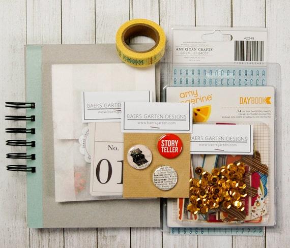 Mini Album / Journal Kit Storyteller - Album Kit - Mixed Papers - Badges - Alpha - Washi Tape - Journaling Cards