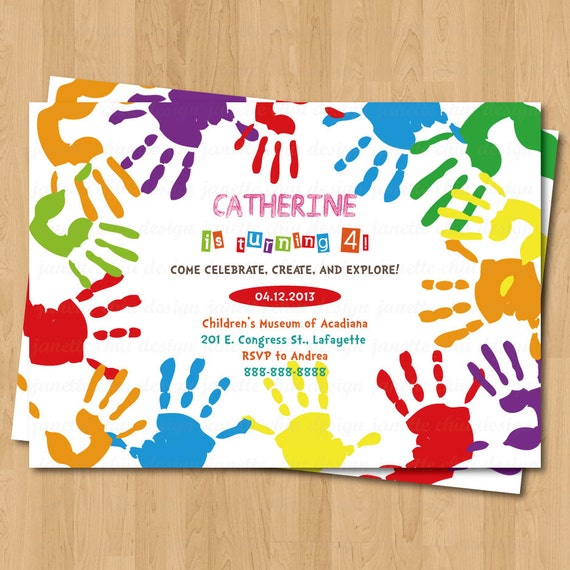 Arts and crafts hand prints birthday party by for Crafts for birthday parties