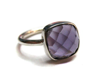 925 Sterling Silver Purple Amethyst Quartz Ring , Fine Quality Chekker cut Faceted Cushion Shape stone Hand made Stackable Ring