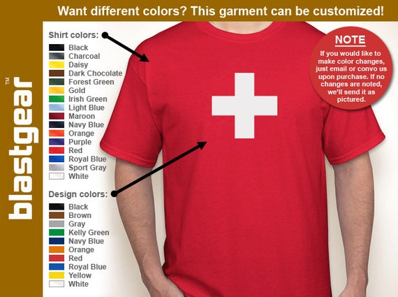 Switzerland flag T-shirt — Any color/Any size - Adult S, M, L, XL, 2XL, 3XL, 4XL, 5XL  Youth S, M, L, XL