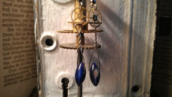 Steampunk inspired mother of pearl earrings