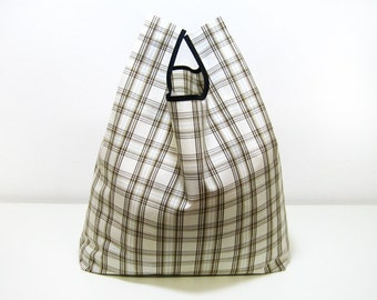 Country Shopping Bag handmade whit brown squares cotton triangle fold tote bag and edged in black ribbon rustic style