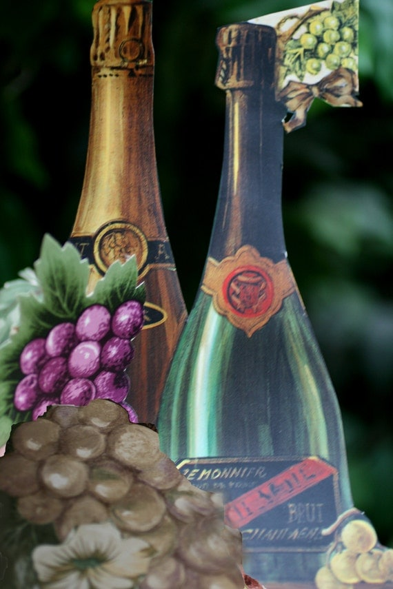 Paper Wine Bottles and Grapes for Scrapbooking, Wine paper crafts, Paper Craft Supplies.