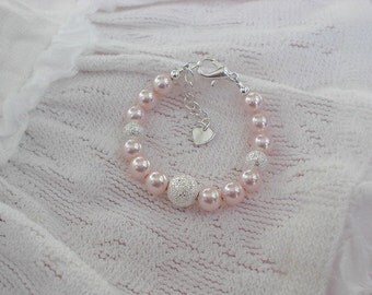 Baby Bracelets-Newborn Jewelry-Pink Pearls-Baby Shower Gift