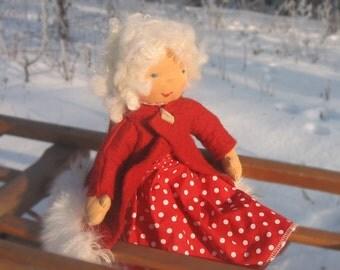 Waldorfpuppe little dott 33 cm / 13 inch, rag doll, Kindergarden,  Waldorf inspired,Waldorf doll, red, white