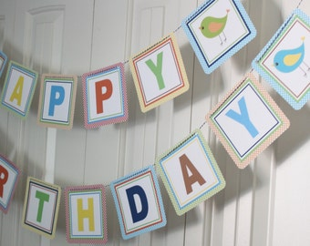 A LITTLE BIRDIE Primary Colors Happy Birthday Party Banner Primary Colors