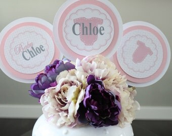 SUGAR AND SPICE It's A Girl Baby Shower 3 Piece Centerpiece {Set of 3} - Party Packs Available