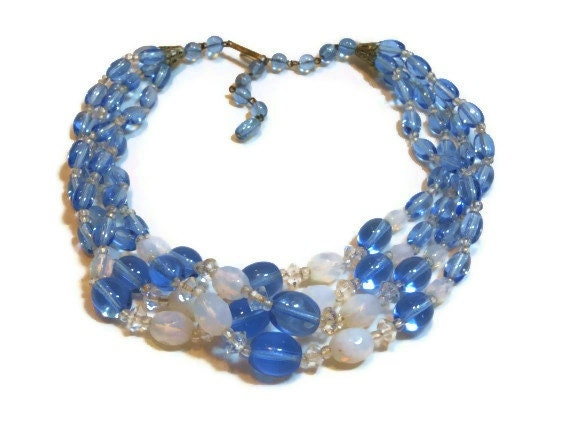 Four strand hand tied beaded glass necklace 1940s signed West Germany blue and white