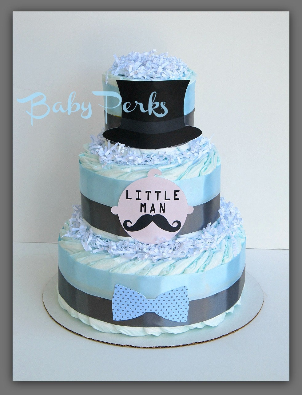 little man diaper cake mustache baby shower mustache party
