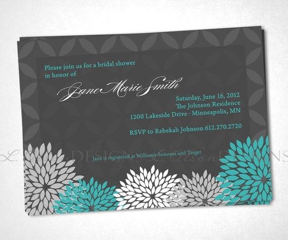 Flowers Elegant Shower Invitation - Turquoise - DIY Printable
