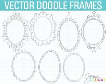 Oval Frame Clipart, Doodle Frame Clipart, Digital Frames, Doodle Clipart, Hand Drawn Clipart, Frames Clipart, Doodle Frame