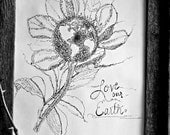 Earth Day April 22 black and white print of ink drawing floral. botanical. detailed. study. map. typewriter. library. globe. world.