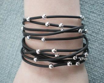 Starry Night Black Rubber & Sterling Silver Wraparound Bracelet/Necklace