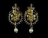 Vintage Style Gold Flower Earrings 14K Yellow Gold